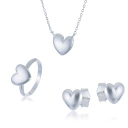Set of silver, heart-shaped jewelry