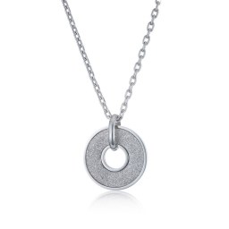 A sparkly and round silver color, stainless steel pendant