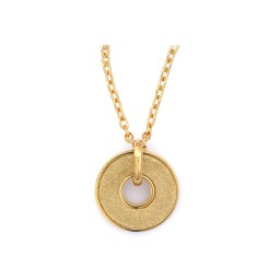 Gold color round pendant with a diamond-finish sparkle