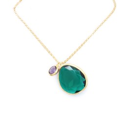 Gold-plated pendant with drop-shaped green crystal and purple zircon