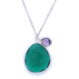 Gorgeous pendant with drop-shaped green stone and an amethyst