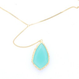 Large pendant with turquoise swarovski crystal and yellow gold necklace