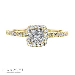 Yellow gold engagement ring with Princess Diamond and sidestones