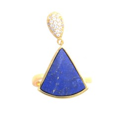 Large triangle-shaped lapis ring with zircons