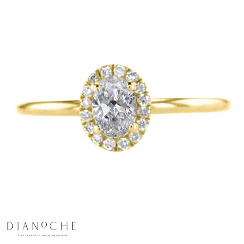 Oval Diamond Ring With Halo Setting